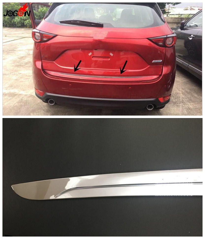 1pcs Rear Trunk Edge Lid ABS Chrome Cover Trim For Mazda CX5 CX-5 2017 2018 Garnish wenkai 1pc abs chrome accessories trunk lid cover trim rear garnish for mazda cx5 cx 5 kf series 2017 2018 car styling