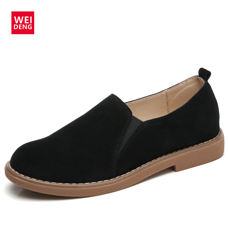 WeiDeng Cow Suede Genuine Leather Loafers Shoes Flats Slip On Ladies Women's Boat Shoes Moccasin Women Zapatos Mujer Handmade branded men s penny loafes casual men s full grain leather emboss crocodile boat shoes slip on breathable moccasin driving shoes