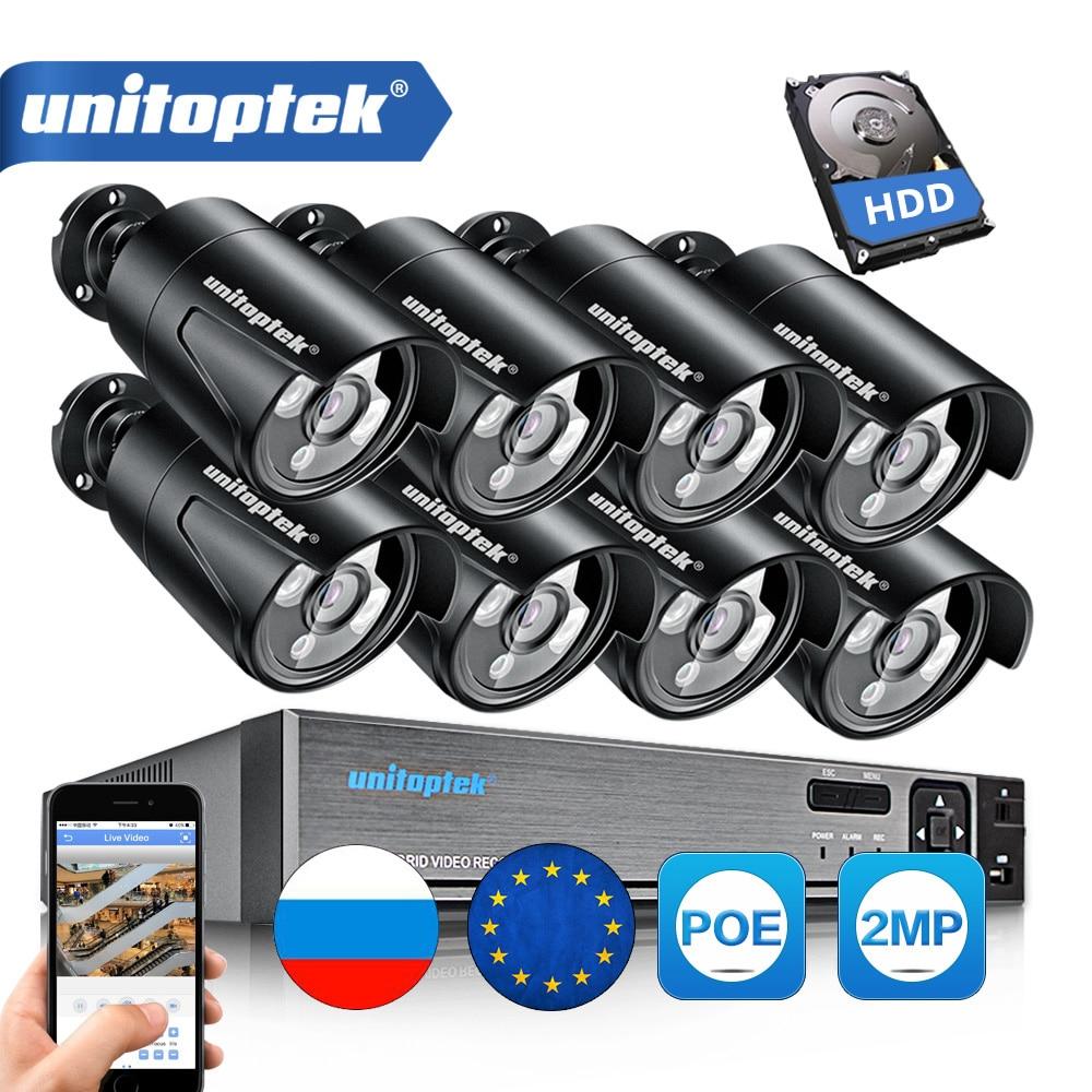 4CH 8CH 4MP CCTV NVR Com 1080 P Full HD P2P 2MP Kit Câmera IP POE Ao Ar Livre Sistema de CCTV À Prova D' Água conjunto De Vigilância Onvif Segurança
