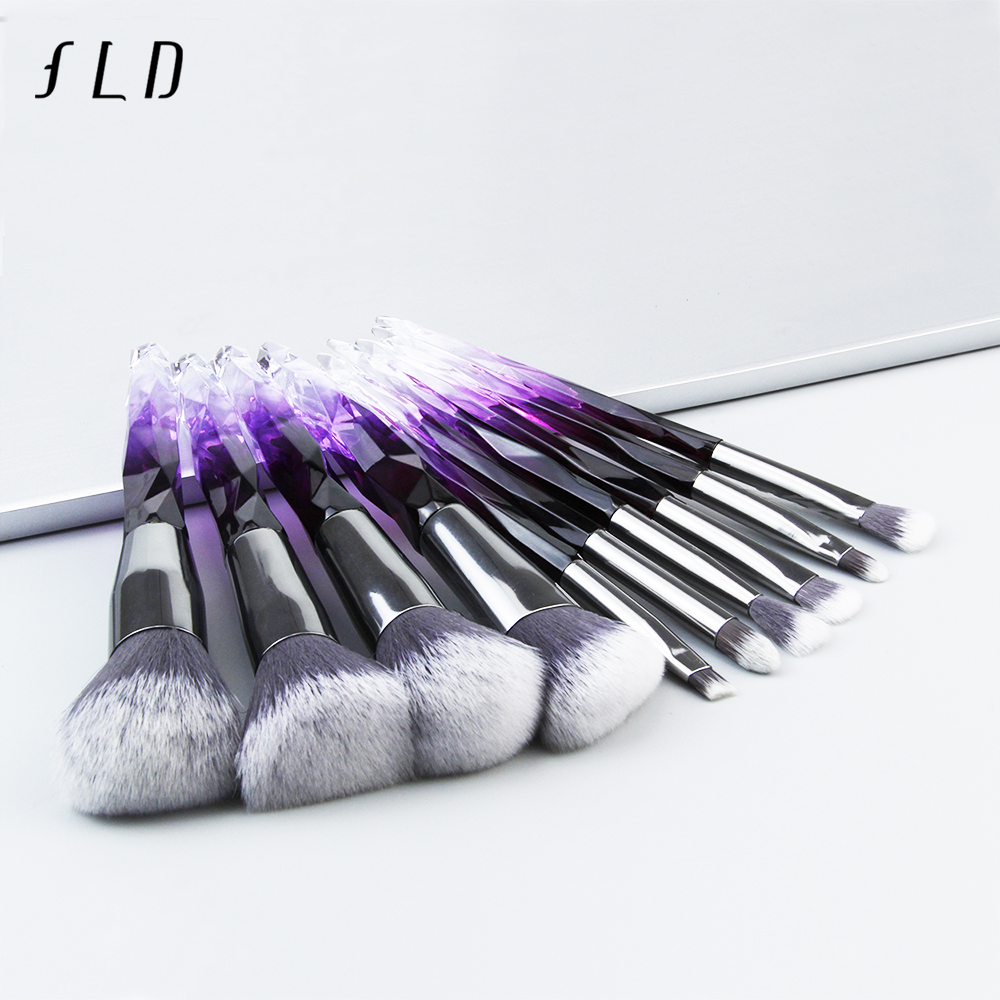 FLD 10Pcs Diamond Makeup Brushes Set For Cosmetic Powder Foundation Eye Shadow Lip Women Colorful Professional Makeup Brush Kit(China)