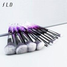 FLD 10 шт.. алмазные кисти для макияжа Набор для Косметической Пудры основа тени для век для губ женский красочный Professional набор кистей для макияжа