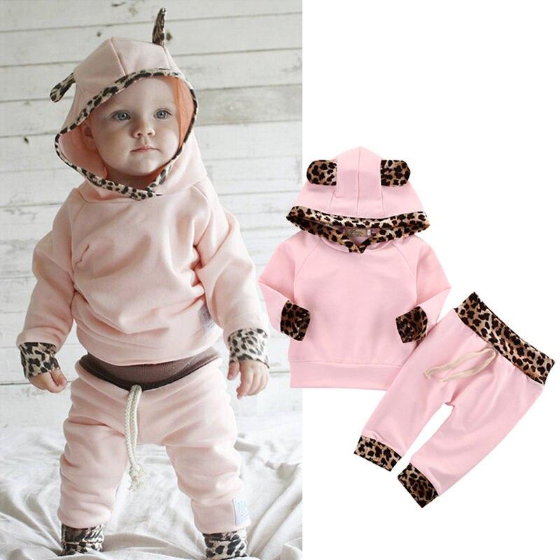 2pcs Newborn Infant Baby Boy Girl Clothes Fashion Toddler Kids Leopard Hoodies Top Pant Bebek Giyim Clothing Set Autumn Suit