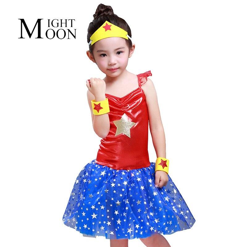 MOONIGHT Wonder Woman Tutu Dress Girl Cosplay Costume Christmas Birthday Dress Up Tutu Dress Baby Photo Props
