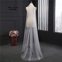 2018 дешевые 2 м Обрезанные края Белые Длинные Свадебные вуали один слой Дешевые гребень 1 т Свадебные вуали с гребнем