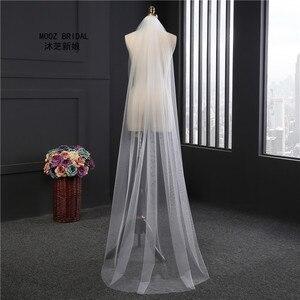 2018 رخيصة 2 متر قطع حافة بيضاء طويلة حجاب الزفاف طبقة واحدة رخيصة مشط 1 طن الزفاف الحجاب مع مشط