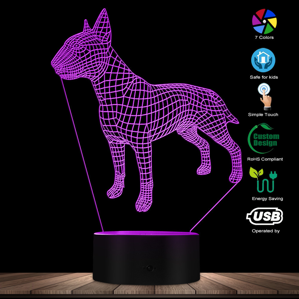 Bull Terrier Dog Shape Designed Desk Lamp 3D Optical Illusion Lamp Animal Dog Pet Puppy Kid Room Night Light Creative Table Lamp