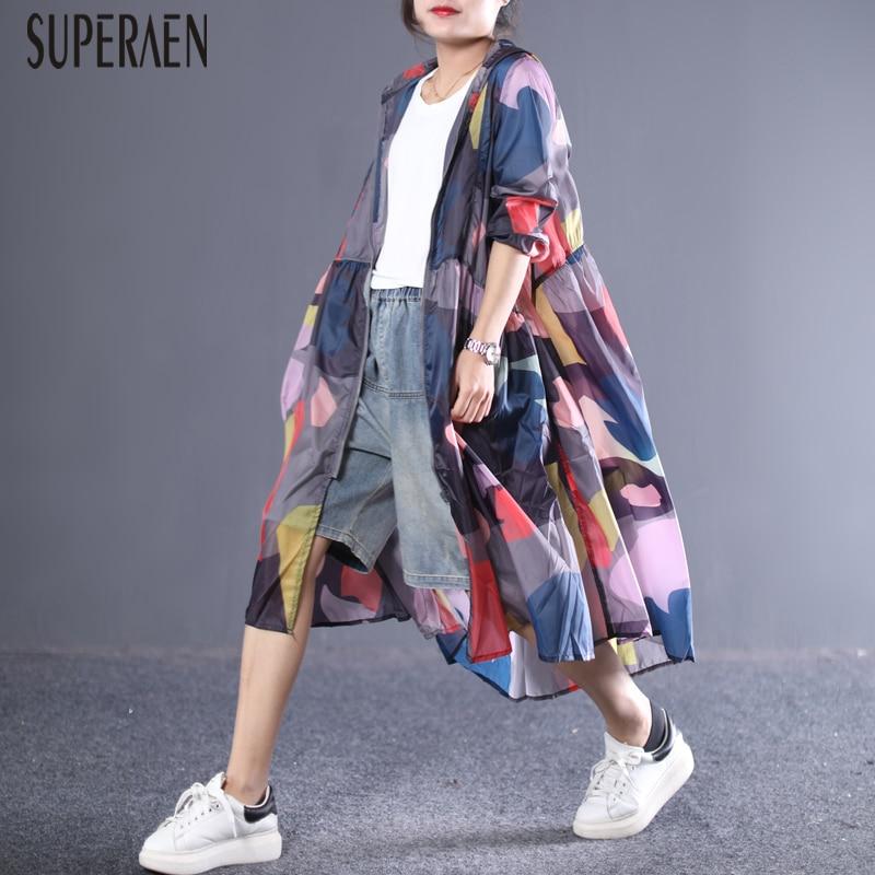 SuperAen New Summer   Trench   Coat for Women Spring and Summer 2019 New Irregular Print Hooded Zipper Sunscreen Windbreaker
