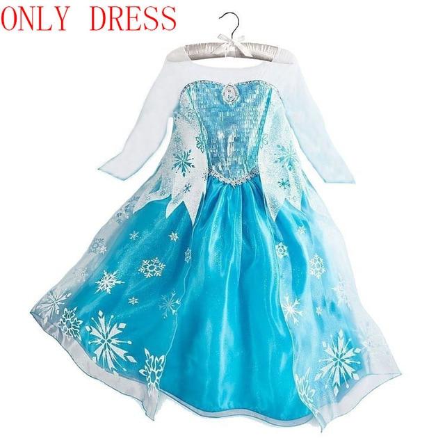 Платье Эльзы для девочек; Новинка; костюмы Снежной Королевы для детей; платья для костюмированной вечеринки; платье принцессы; disfraz carnaval vestido de festa infantil congelados - Цвет: elsa dress E