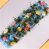 25x100cm Wedding Decoration rose Flower row artificial silk Road cited flowers Arched DIY Background flower wall decoration
