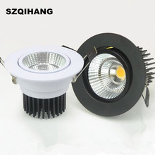 Super Bright AC85-265V 7w 10w 15w 20w Spot LED DownLight Dimmable LED COB Spot Recessed Down light Downlights White Black Shell