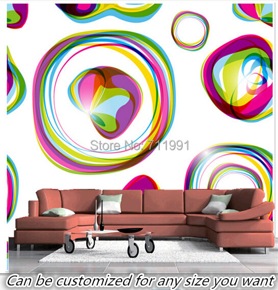Free shipping custom murals Colours and Shapes Wall modern 3D Mural Wallpaper living room bedroom background wallpaper custom baby wallpaper snow white and the seven dwarfs bedroom for the children s room mural backdrop stereoscopic 3d