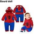Conjunto de roupas traje de Natal com desenho infantil bata de manga longa do homem aranha, macacão, roupas traje para menino, infantil, de recém-nascido