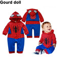 Newborn Toddler Baby boy bodysuits clothes Romper Spiderman Long Sleeve with Smock Infant Cartoon Christmas Costume clothing set