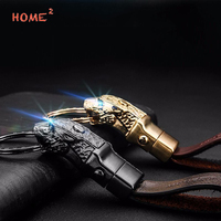 Business Gift Car Leather Keychain Leopard Logo Key Rings With LED Light For Audi Ford BME