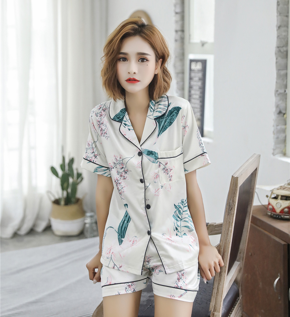 Short Sleeve Silk   Pajamas   Suit Women Summer   Pajama     Sets   Silk Pijama Sleepwear Pyjamas Plus Size 3XL 4XL 5XL 85kg Nightwear   Set
