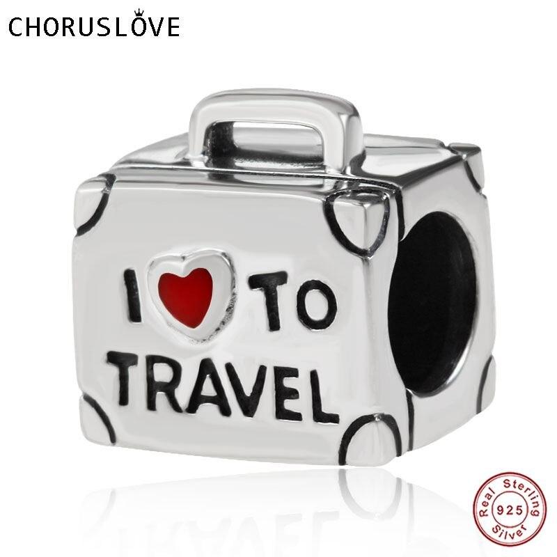 Choruslove 925 Sterling Silver EU Amo viajar Mala Charms Beads fit Pandora Bracelet DIY Jóias para Presente de Aniversário SS3303