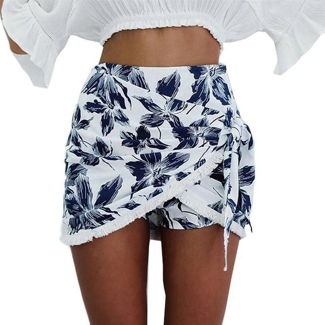Shorts Mujeres 2017 de La Manera Irregular blanco corto feminino verano Diseño Casual de Alta Cintura Suelta Pantalones Cortos de Moda Falda