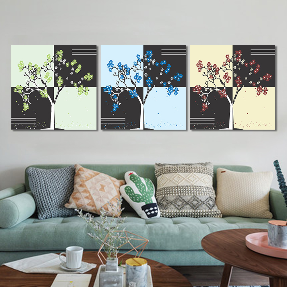 Unframed Multiple Pieces HD Canvas Painting Abstract Dry Tree Pure Leaves Wall Pictures For Living Room Wall Art Decoration