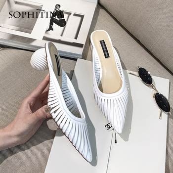 SOPHITINA Sexy Round Heel Ladies Pumps Fashion Pointed Toe Slip-On Shoes Spring Autumn Solid Shallow Med Heel Women Pumps MO203