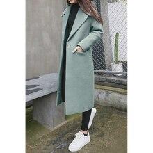 2019 autumn winter wear new turndown collar Pocket womens thick woolen coat female large size long A245