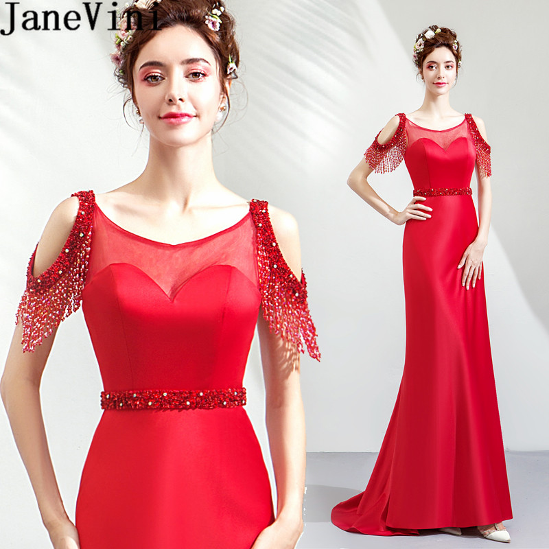 JaneVini Luxury Beading Red Wedding Guest   Dress   Mermaid Long Sexy   Bridesmaid     Dresses   Illusion Sequined Formal Party Gowns 2019
