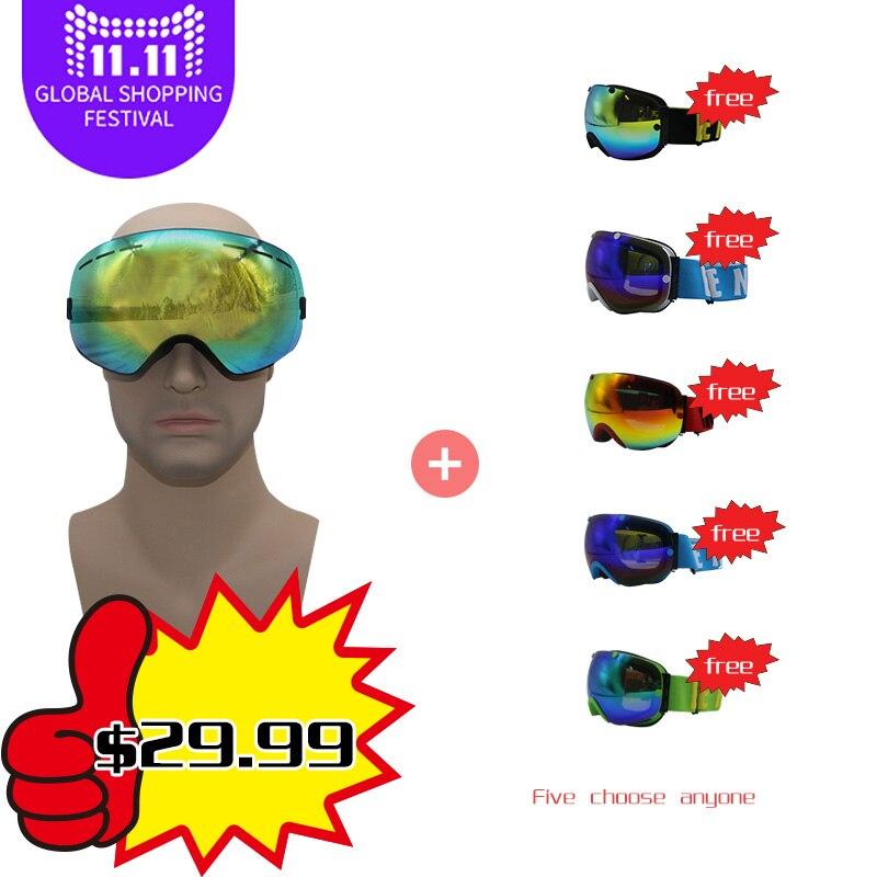 все цены на Magnet ski goggles New brand double layers UV400 anti-fog big ski mask glasses skiing men women snow snowboard goggles