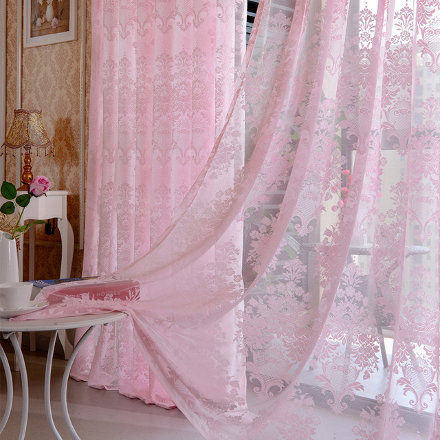 SunnyRain 1 Piece Luxury Pink Curtain For Living Room Sheer Curtain ...