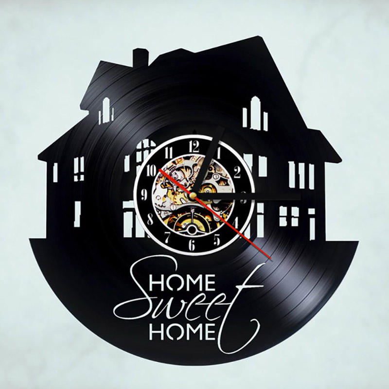 Family House Design Record Clock Creative Sweet Home Handmade Vinyl Wall Clock Retro Art Decor Classic Antique LED Wall Clock