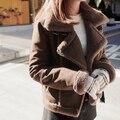 Nuevo llega el invierno de las mujeres de vestir de moda gamuza gamuza Genuina Chaqueta de Cuero grueso caliente de la chaqueta corta