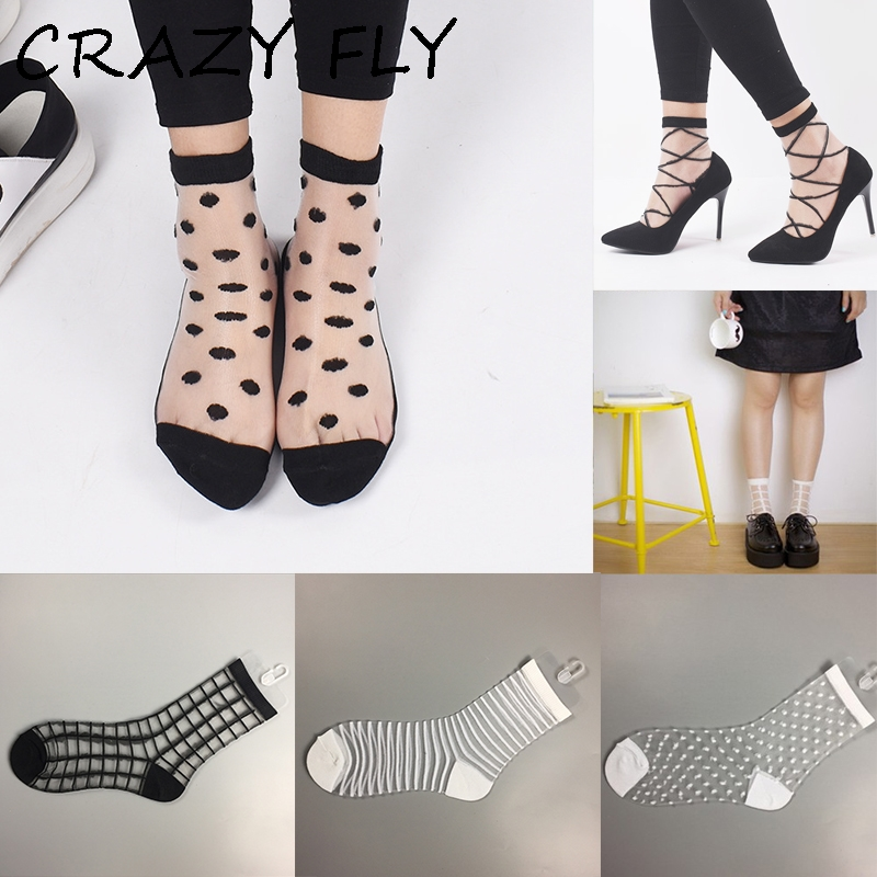 CRAZY FLY New Women Comfy Ultrathin Elastic Ankle Socks Summer Short Women Socks Lace Crystal Sheer Transparent Socks Funny