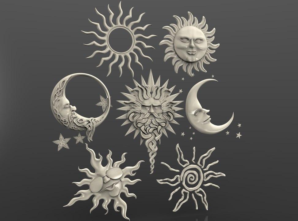 3d STL Model For CNC Router Engraver Carving Machine Relief Artcam Aspire 3D Sun Moon Etc 7 Ornaments