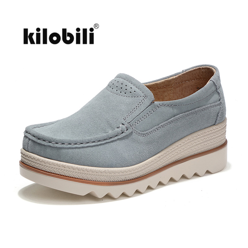 kilobili Autumn Women Flats Shoes   leather     suede   moccasins flat platform sneakers Thick heels shoes ladies Slip on Black creepers