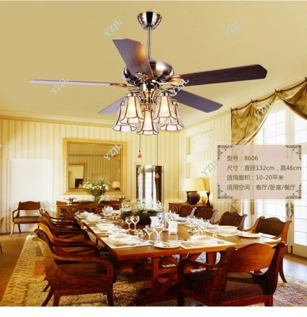 American Art Copper Shade 52inch Ceiling Fan LightsTiffany Living Room Fan  Dining Room Fan Lights Ceiling