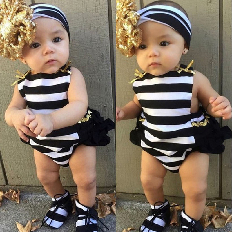 ChanJoyCC 2017Hot Sale Baby Girl Clothes 2pcs Sets Cute Cotton Striped Sleeveless Rompers+Headband Leisure Newborn Clothes