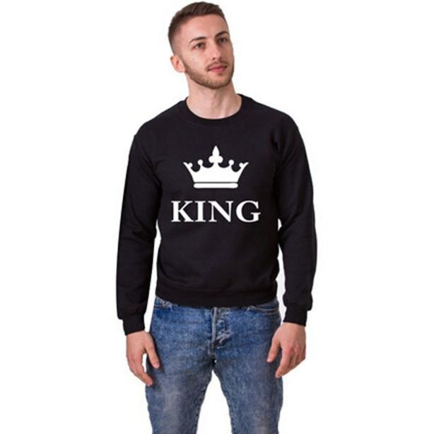 New Arrival Hot Men Crown KING Letter Print Hoodies Top Blouse Couple Long Sleeve Shirt Free Shipping Wholesale