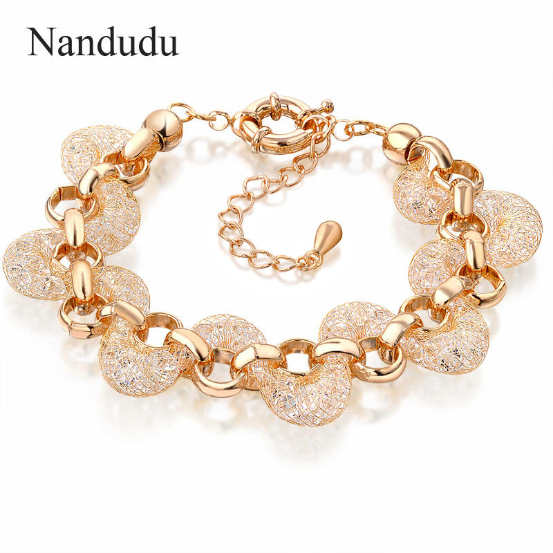Nandudu ROSE Mesh Net Crystal Net Women Girl Female Bangle Fashion Jewelry Gift B226 nandudu fashion necklace rose wire mesh flower crystal pearl pendant necklaces gift for women cn165