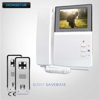 HOMSECUR 2V1 4.3inch CMOS Video Door Intercom System with Intra monitor Audio Interaction for Home Security