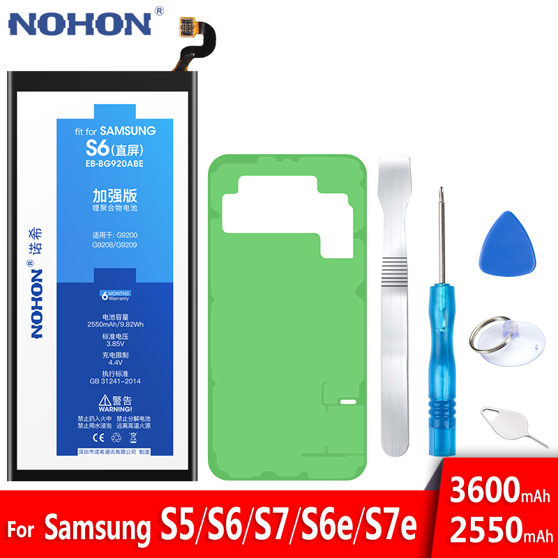 NOHON Battery Replacement S7-Edge SM-G9200 S6 Samsung Galaxy Original Bateria for S5