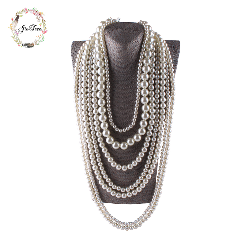 JIOFREE big beads Simulated Pearl Necklace multi layer neckl
