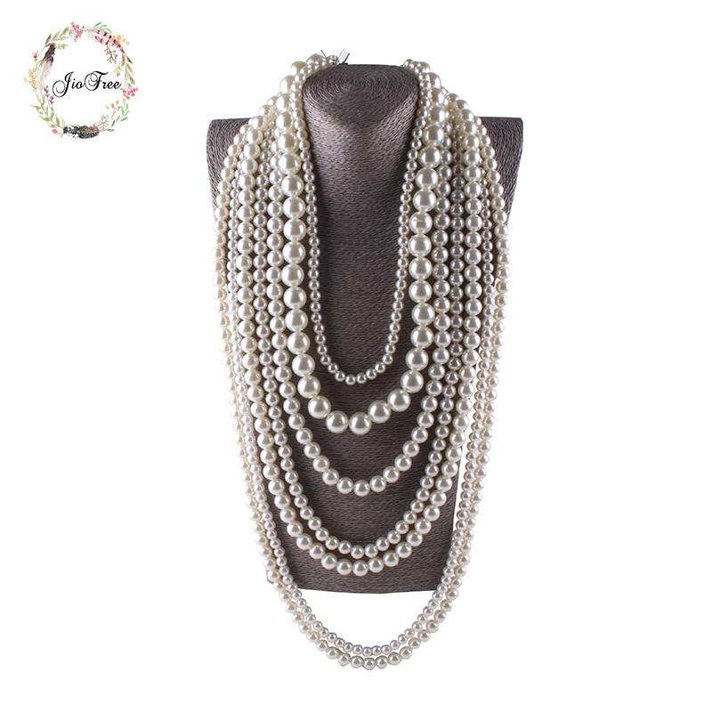 купить JIOFREE big beads Simulated Pearl Necklace multi layer necklace Statement Necklace popular women Bohemian party women jewelry по цене 365.83 рублей