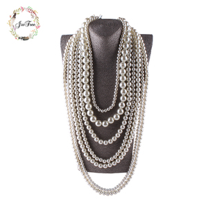 JIOFREE big beads Simulated Pearl Necklace multi layer necklace Statement Necklace popular women Bohemian party women jewelry