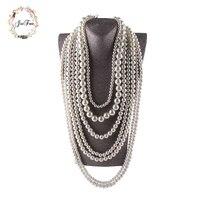 JIOFREE grosses perles Simulé Perle Collier multi couche collier Déclaration Collier femmes populaires Bohème parti femmes bijoux