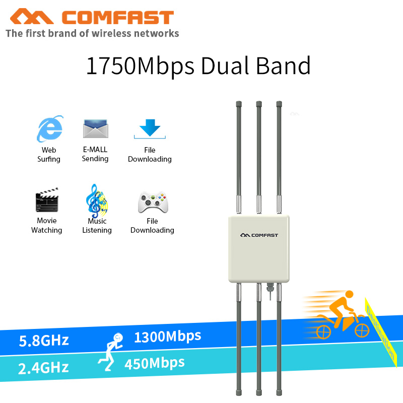 Haute puissance omnidirectionnelle extérieure sans fil AP 5G & 2.4G 802.11ac/b/g/n Hotspot sans fil wifi routeur 6 * 5dBi antennes station de base