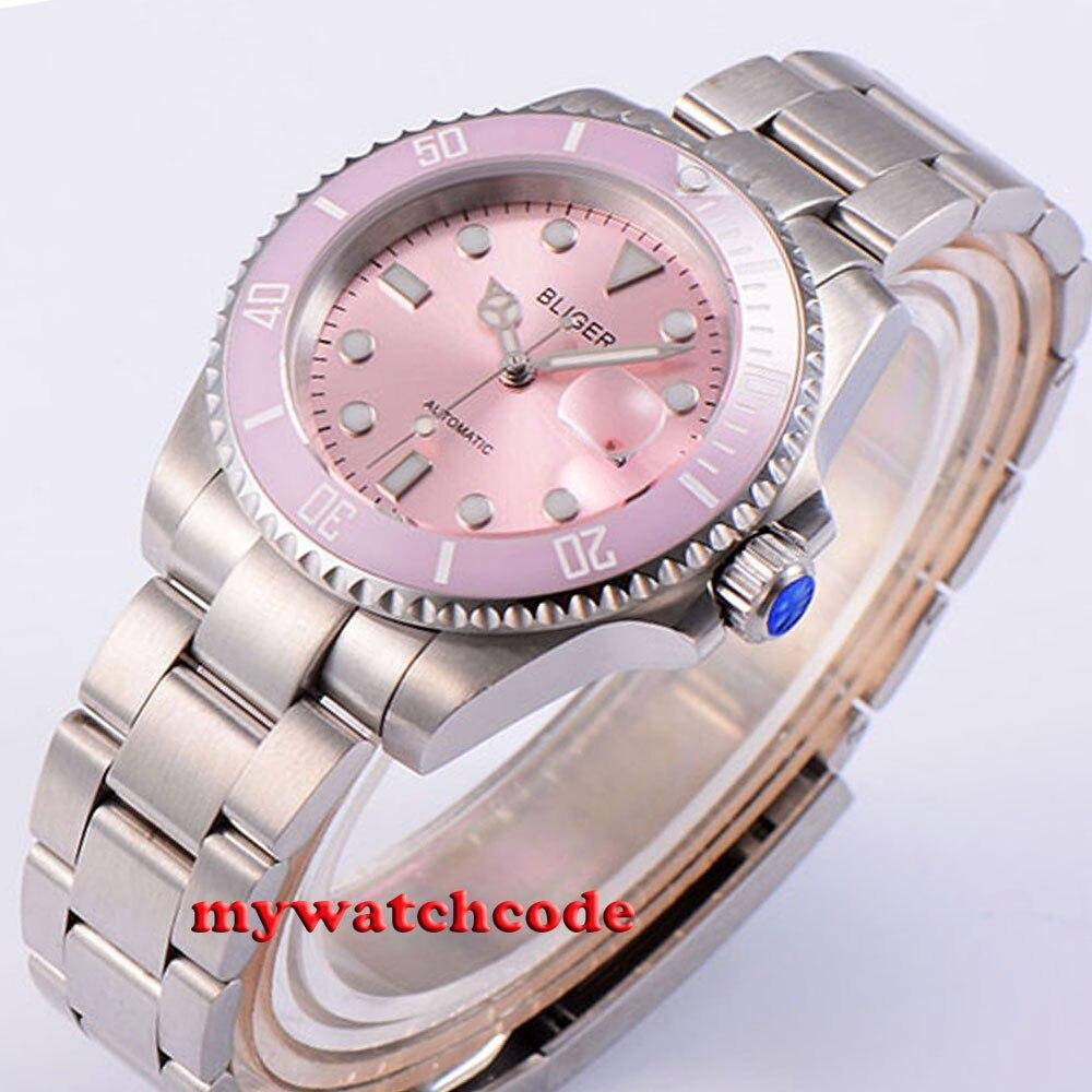 40 ملليمتر Bliger الوردي الهاتفي خمر الياقوت كريستال التلقائي حركة إمرأة watch42-في الساعات الميكانيكية من ساعات اليد على  مجموعة 2