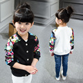 2016 autumn children's clothing baby girls clothes  child flower patchwork baseball shirt child children outerwear cardigan