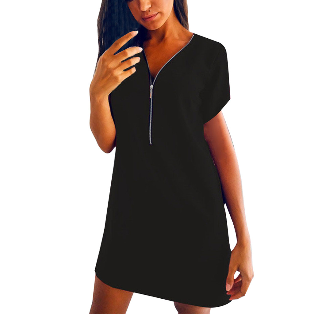Summer Women s Clothing Ladies Short Sleeve V Neck Zipper Solid Color Dress Casual Comfortable Tops Summer Women's Clothing Ladies' Short Sleeve V-Neck Zipper Solid Color Dress Casual Comfortable Tops Dress For Home Dress #BL0