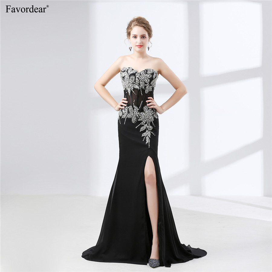 Favordear backless sequins flower sleeveless Custom Made black beading applique Long   Prom     Dresses   Vestido De Festa 2018