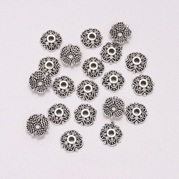 50pcs/Lot 8mm 4 Petals Tibetan Antique Carved Flower Loose Sparer Apart End Bead Caps For DIY Jewelry Making Findings