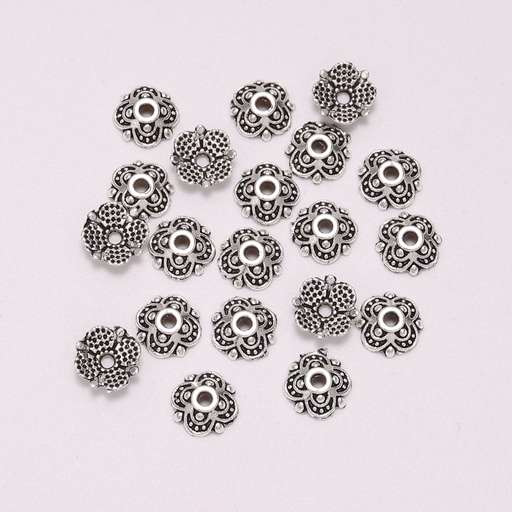 50pcs/Lot 8mm 4 Petals Tibetan Antique Silver Carved Flower Loose Sparer Apart End Bead Caps For DIY Jewelry Making Findings