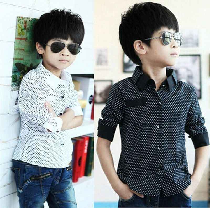 a51b03b6f ... Fashion Kids Boys Formal Shirt Plain Long Sleeved Polka Dot Lapel Party  Shirt ...